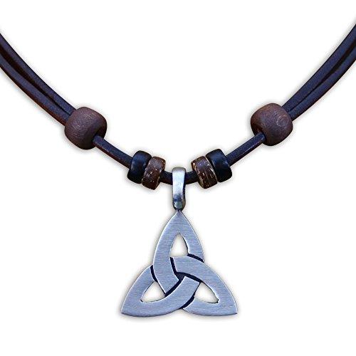HANA LIMA ® Lederkette Keltenschmuck Keltischer Knoten Halskette Surferkette Metallanhänger