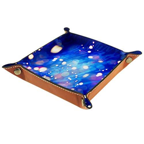 Ameli Plateau de rangement en cuir pour clés, téléphone, monnaie, portefeuille, montres, etc. Bleu ciel étoilé