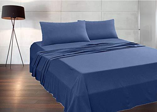 MADE IN ITALY - Completo Lenzuola + 2 Federe per letto Matrimoniale (sotto con angoli 170x190 H 20) in puro cotone 100% made in Italy by Il Filo (blu navy, matrimoniale)