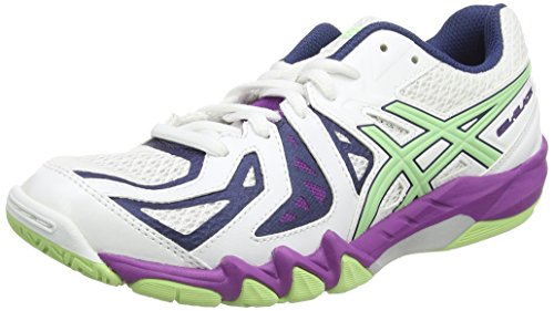 Asics Gel-blade 5, Damen Squashschuhe, Weiß (white/pistachio/grape 0187), 40 EU