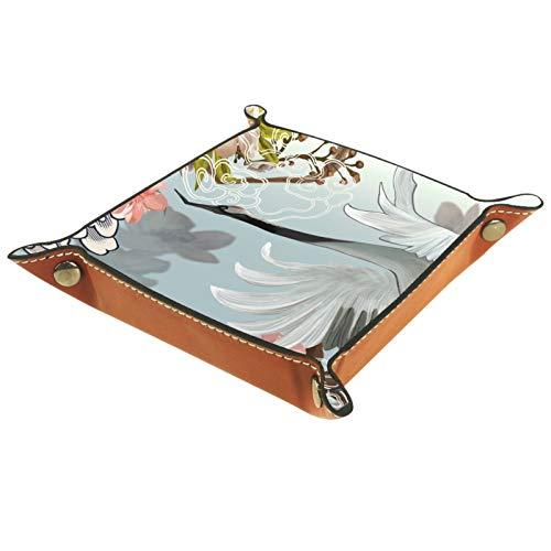 Bandeja de Valet Organizador de Escritorio Caja de Almacenamiento Bandeja de Recogida de grúa voladora de Cuero para Uso doméstico