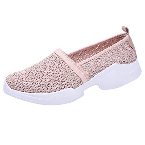 YWLINK Zapatos Moda Mujer TamañO Grande Al Aire Libre De Malla Zapatos Deportivos Casuales Runing Zapatos Transpirables Yoga De Ocio Ciclismo Zapatos De Playa Ejercicio Los Deportes(Rosado,40EU)