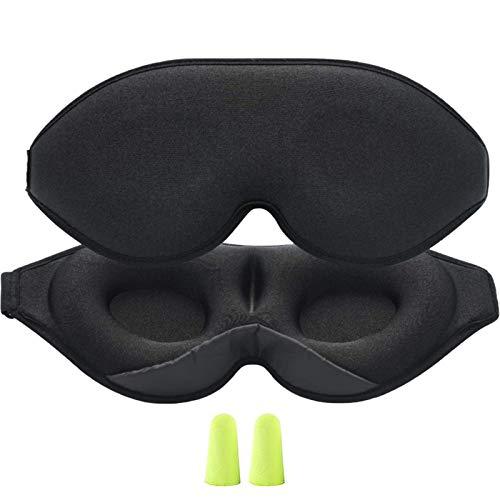 Tonsooze Antifaz para Dormir 3D Antifaz Dormir de Máscara Suave y Transpirable para mujeres y hombres, 100% la oscuridad absoluta, antifaz con correa ajustable para la casa o viajar