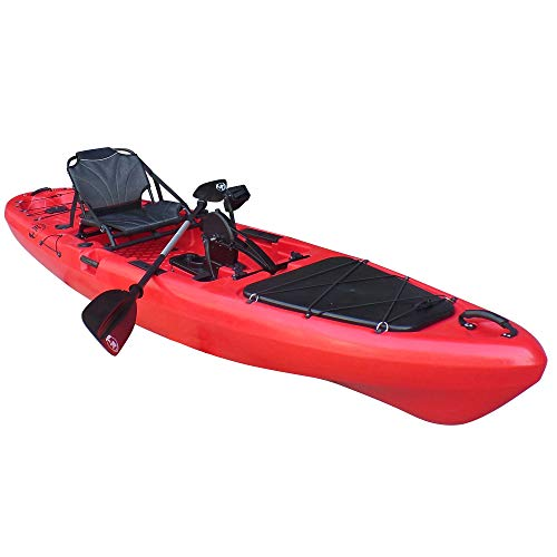 BKC PK13 13' Pedal Drive Fishing Kayak W/Rudder System and Instant Reverse, Paddle, Upright Back Support Aluminum Frame Seat, 1 Person Foot Operated Kayak (Red)