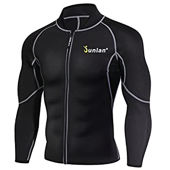 Men Sweat Neoprene Weight Loss Sauna Suit Workout Shirt Body Shaper Fitness Jacket Gym Top Clothes Shapewear Long Sleeve  Black L
