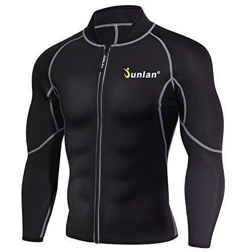Men Sweat Neoprene Weight Loss Sauna Suit Workout Shirt Body Shaper Fitness Jacket Gym Top Clothes Shapewear Long Sleeve (Black, L)