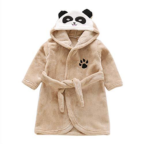Happy Cherry Bademantel für Kinder, Cartoon Panda mit Kapuze, 2-8 Jahre, Braun Large