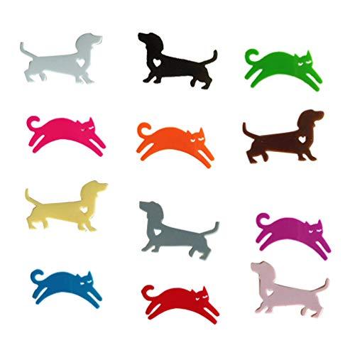 YARNOW 12Pcs Marcatore per Bicchieri da Vino a Forma di Cane e Gatti Segna Bicchieri Colorati per Riunioni, Feste e Celebrazioni
