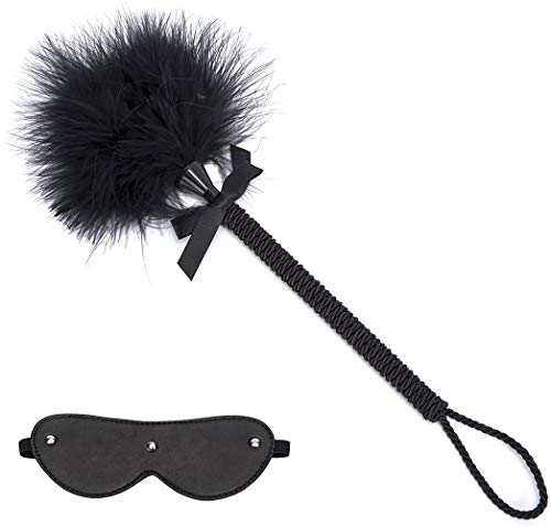 Huangte Toys Satin Blindfold Set,Feather Tickle??2 in 1 Sport Exquisite Ostrich Feather Tickler for Games (MSDF-11) Cosplay Props HY0009