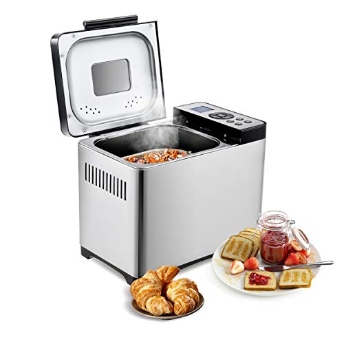 COSTWAY Brotbackautomat 19 Programme / 650W / 500-1000g Brotgewicht / 15 H Timing Brotbackmaschine/Brotbäcker Edelstahl