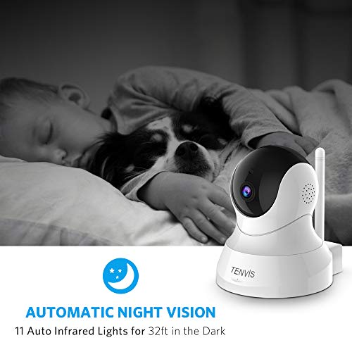 TENVIS 1080P Security Camera - Wireless Camera, IP Camera with Night Vision, 2-Way Audio, 2.4Ghz WiFi Indoor Home Dome Camera for Pet Baby, Remote Surveillance Monitor with Phone App (White)
