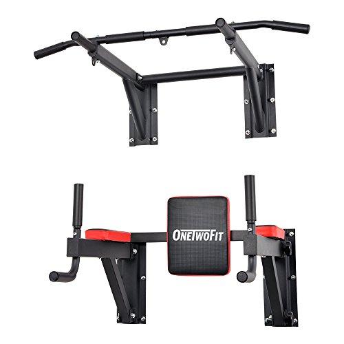 OneTwoFit Barra Montata a Parete per Pull Up, Chin Up, Strumento Multifunzione per Sviluppare la Forza Muscolare da Casa, Coppia Parallele Attrezzatura Fitness che Supporta fino a 150 Kg OT076
