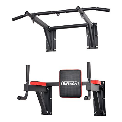 ONETWOFIT PullUpFitness-Barre de Traction Murale-Chaise Romaine Murale - Musculation Fitness 3 Anneaux pour TRX, Punching-Ball, poignées antidérapantes, Dips Station Fixation Inclus Max 150 KG OT076