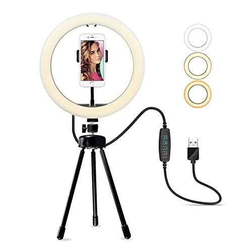 Geahod LED Ringlicht mit Stativ, 10 Zoll Dimmbare Selfie Licht Ringleuchte mit Handyhalter, 3 Farbe 10 Helligkeitsstufen Tischringlicht für Make-up Tiktok YouTube Live-Streaming