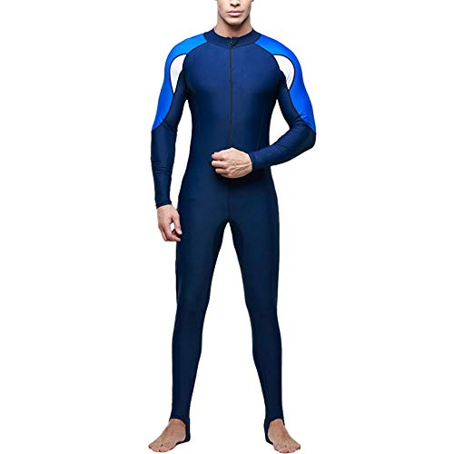 Gate2Light Men's Full Body Sports Wetsuits Front Zipper Printed Rash Guard Dive Skin Suit Long Sleeve Stretchy Diving Snorkeling Surfing Jumpsuit