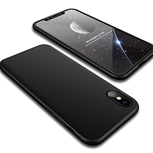 TASLAR 360 Degree Protection Full Edge Shockproof Bumper Cover with Tempered Glass for iPhone X (Black)