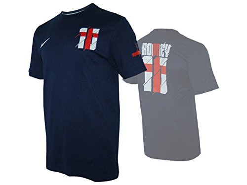 Nike England Hero #10 Rooney Tee Fan Shirt Three Lions donkerblauw
