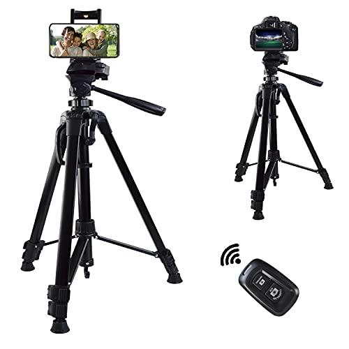 Handy Stativ, 57 inch Leichtes fotostativ, Kamera-Fotostativ mit Ständer und Bluetooth-Fernbedienung, Aluminium-Stativ für Kamera/Telefon/Video und Cross-Line-Laser, Geeignet