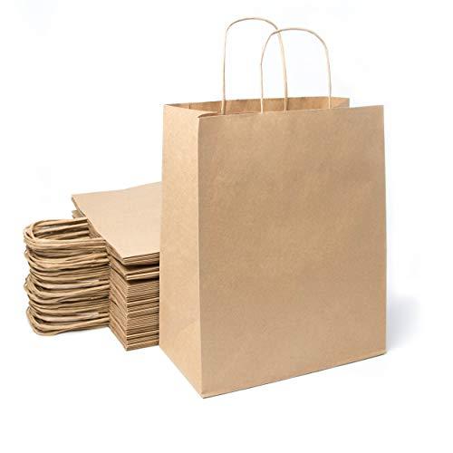 Extiff – Lote de 50 bolsas de papel kraft marrón con asas para la compra en embalaje de regalo