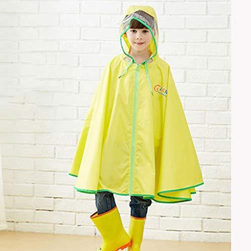 Asnvvbhz Regenponcho Kinder mit Kapuze Regenbekleidung Kinder Regenmantel Cartoon Mantel Poncho mit Schultasche Abdeckung Regen Mantel (Color : Yellow, Size : L)