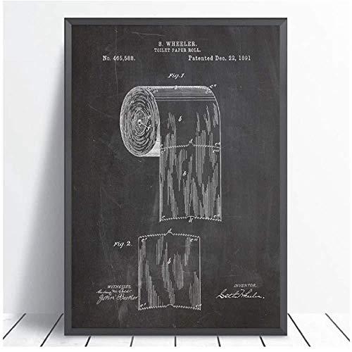 RomantiassLu Toilettenpapier Patent Poster Badezimmer Wand Kunstdrucke Rolle Toilettenpapier Blaupause Leinwand Malerei Zeichen Wohnkultur