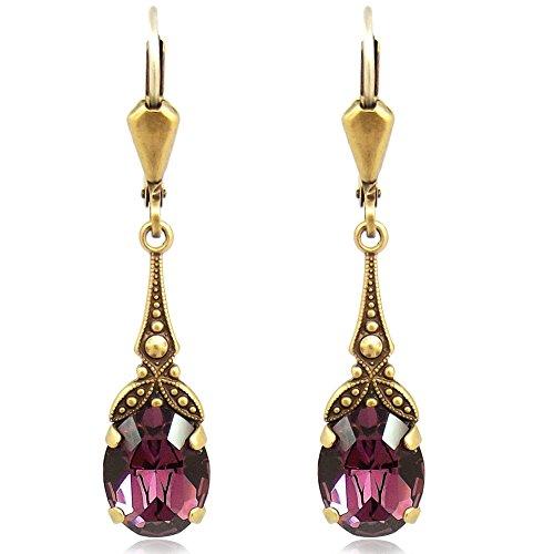 Jugendstil Ohrringe mit Kristallen von Swarovski® Gold Lila NOBEL SCHMUCK