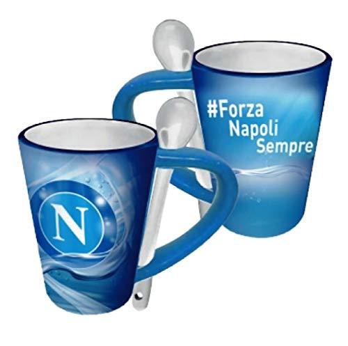 CARTOON WORLD Tazza in Ceramica con Cucchiaino - SSC Napoli - Ufficiale ed Originale