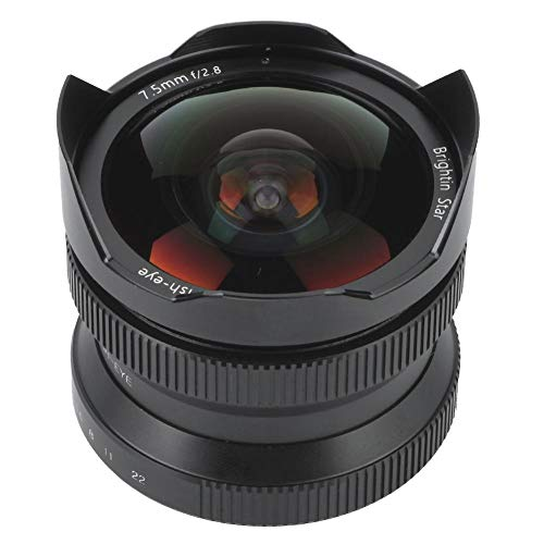Topiky Brightin Star 7.5mm f2.8 Gran Angular 180 ° Ojo Ojo de pez Enfoque Manual APS-C para Sony E, para Canon EF-M, para Fuji FX Mount, para M4 / 3 con cámara sin Espejo(para Sony E Mount)