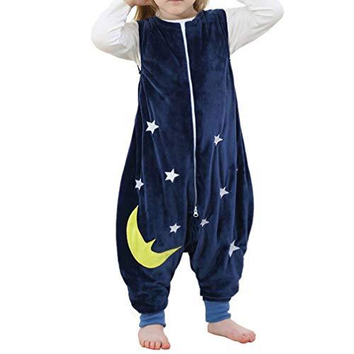 Mama Stadt Baby Tier Schlafsack mit Füßen, Unisex Ärmellose Kinderpyjamas Flanell 4 Jahreszeiten Schlafanzug für 2-3 Jahre, Blaue Sterne
