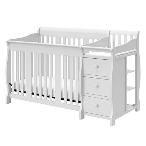 Storkcraft Portofino 4 in 1 Fixed Side Convertible Crib Changer, Easily Converts to Toddler Bed Day Bed or Full Bed, Three Position Adjustable Height Mattress (Mattress Not Included), White, Full