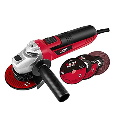 4-1/2-Inch Angle Grinder 6.0-Amp with 3 Abrasive Wheels (Cutting Wheel, Grinding Wheel, Flap Disc) and Auxiliary Handle, Masterworks MW589