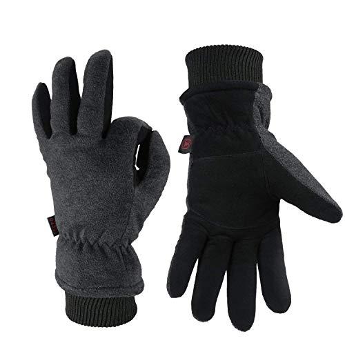 OZERO Thermo Handschuhe,Leder Warme Winter Handschuhe zum Laufen,1 Paar, Grau, M