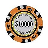 LANLANLife Clay Poker Chip 14 gram Set Clay Casino Coin 40 mm Coin Poker Chip Entretenimiento Dólar Moneda 50 Piezas (Size : 10000 (50pcs))