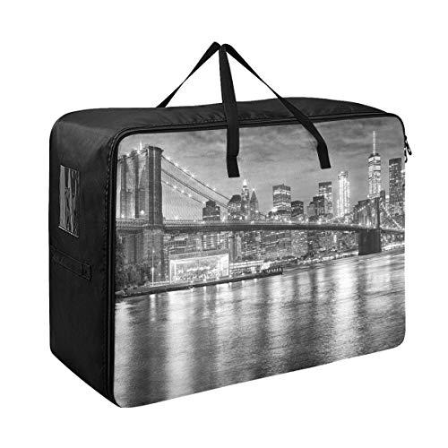 Brooklyn Bridge And Manhattan New York City Extra Large Storage Bag Space Saving Laundry Bag Comforter Quilt Bedspread Pillow Luggage Moving Tote Garment Closet Storage Organizer Travel Cargo Duffel J