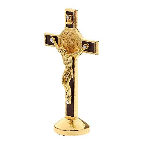POFET Kruzifix Jesus Christus Kreuz Statue Figur für Auto Home Chapel Decor - Gold
