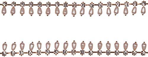 Trimming Shop 1m Zilver Diamante Strass Diamant met Ovale Parel Ketting Kant Trim voor Naai op of Lijm op Bruiloft Kleding Mode Craft Projecten