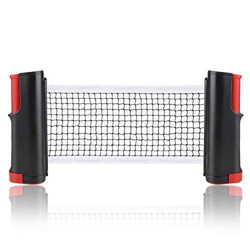 INMHMING Red de Tenis de Mesa,Repuesto Portátil Retráctil Table Tennis Net,para Entrenamiento Abrazaderas, Longitud Ajustable 190 (MAX) x 14cm