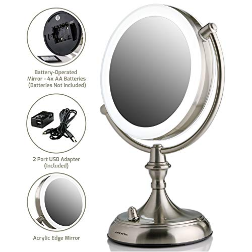 OVENTE Tabletop Makeup Vanity Mirror 7.5 Inch with 10X Magnification and LED Light, 360 Degree Swivel Design, Option of Batteries or USB Adapter Operated, Nickel Brushed (MGT75BR1X10X)