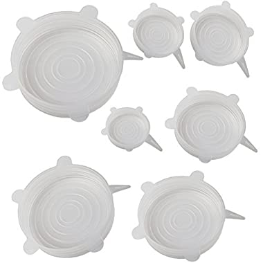 Mockins 7 Pack Silicone Stretch Lids The Reuseable Silicone Huggers are Durable and Expandable To Fit Various Unique Shapes And Sizes To Keep Your Food Fresh And Tasty - Clear