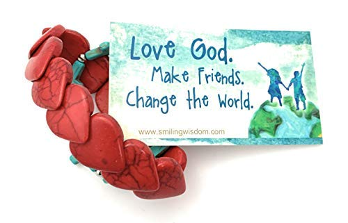 Smiling Wisdom - Red Heart Stretch Heart Bracelet & Turquoise Cross Bracelet Gift Set - Love God. Make Friends. Change the World - Fashion Turquoise Magnesite Jewelry for Girl, Teen, Woman - Red Blue