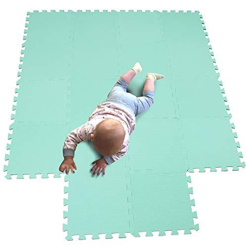 MQIAOHAM Esterilla Puzzle de Fitness 18 losas de EVA Espuma Alfombrilla Protectora Protección para el Suelo para máquinas de Deporte y gimnasios sobre el Piso Fácil de Limpiar Verde 108