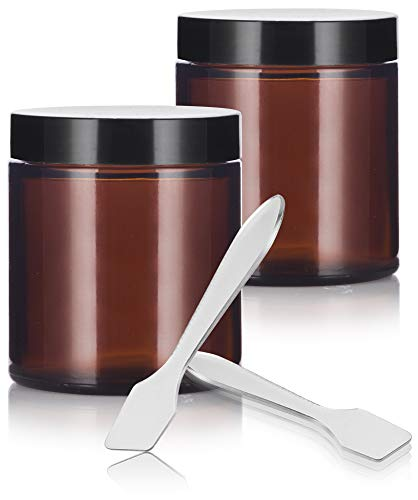 Amber Glass Straight Sided Jar - 4 oz (2 Pack) + Spatulas