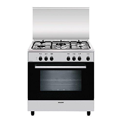 Glem A855EI four et cuisinière Noir, Acier inoxydable Cuisinière à gaz A - Fours et cuisinières (Cuisinière, Noir, Acier inoxydable, Rotatif, Devant,