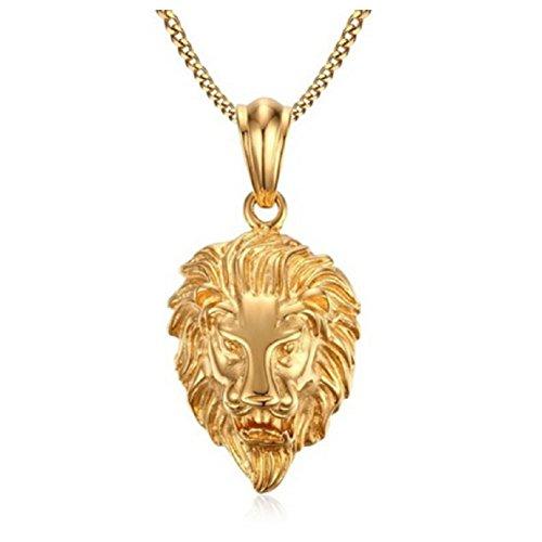 Blowin Collier Vintage en Acier Inoxydable pour Homme avec Pendentif en Forme de Roi Lion 3D Chaîne dorée 61 cm