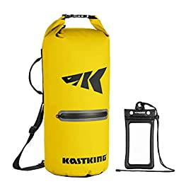 Kastking cyclone seal dry bag - 100% waterproof bag with phone case front zippered pocket, perfect for beach, fishing, kayaking, boating, hiking, camping, biking, skiing 2 durable construction dry bag - designed for active water sports and dusty environments the kastking cyclone seal dry bag is rugged, flexible, and abrasion resistant. A super strong and abrasion resistant 500d pvc construction with precision ultrasonic welded seams provide a superior seal to prevent water intrusion. Provides a complete waterproof bag system for any environment. Perfect for fishing, camping, kayaking, hiking, beach, boating waterproof protection – the kastking cyclone dry bag seal system provides an extra layer of pvc to ensure a best-in-class waterproof seal on a dry storage bag. Gives you total piece of mind to protect your valuable items from getting wet. Also has special splash-proof outer zipper pocket. Heavy duty - tough, resilient spider buckle will not fatigue and break. Heavy duty self-locking clips will hold oversize loads. Cyclone waterproof bag buckles and clips are made of heavy-duty nylon and will not rust in any wet conditions. Reinforced strap attachment points.