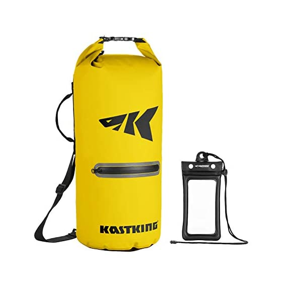 Kastking cyclone seal dry bag - 100% waterproof bag with phone case front zippered pocket, perfect for beach, fishing, kayaking, boating, hiking, camping, biking, skiing 1 durable construction dry bag - designed for active water sports and dusty environments the kastking cyclone seal dry bag is rugged, flexible, and abrasion resistant. A super strong and abrasion resistant 500d pvc construction with precision ultrasonic welded seams provide a superior seal to prevent water intrusion. Provides a complete waterproof bag system for any environment. Perfect for fishing, camping, kayaking, hiking, beach, boating waterproof protection – the kastking cyclone dry bag seal system provides an extra layer of pvc to ensure a best-in-class waterproof seal on a dry storage bag. Gives you total piece of mind to protect your valuable items from getting wet. Also has special splash-proof outer zipper pocket. Heavy duty - tough, resilient spider buckle will not fatigue and break. Heavy duty self-locking clips will hold oversize loads. Cyclone waterproof bag buckles and clips are made of heavy-duty nylon and will not rust in any wet conditions. Reinforced strap attachment points.