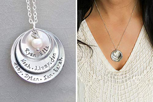 Personalized Grandmother Necklace - Handstamped Mom Gift - 5/8 7/8 1 1/8 inch