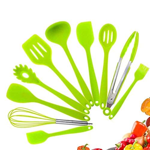 FINGER TEN Utensilios de Cocina de Silicona Juego de Cocina de 5 o 10 Utensilios de Cocina antiadherentes, antiadherentes y Libres de BPA Turner Tongs Espátula Cuchara Gadgets de Cocina