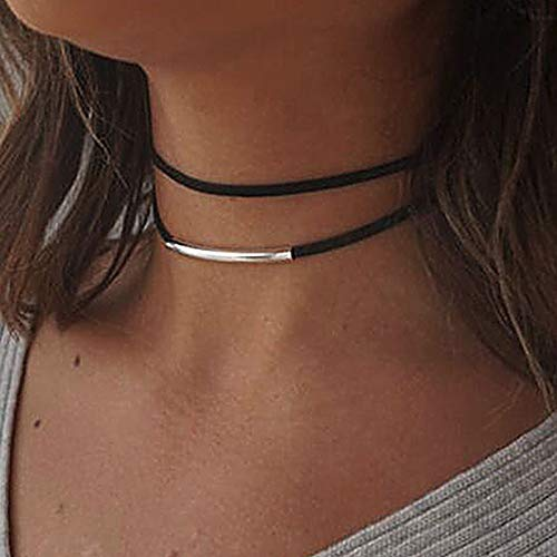 Jakawin Choker Necklace Adjustable Black Collar Necklaces for Women and Girls NK134 (Black)