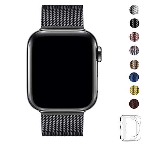 WFEAGL コンパチブル apple watch バンド, コンパチブル iWatch 通用ベルト apple watch series 5/4/3/2/1に対応 交換ベルトステンレス製 (42mm 44mm, ブラック)